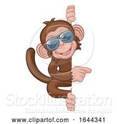Vector Illustration of Cartoon Monkey Sunglasses Animal Pointing at Sign by AtStockIllustration