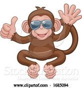Vector Illustration of Cartoon Monkey Sunglasses Waving Thumbs up Animal by AtStockIllustration