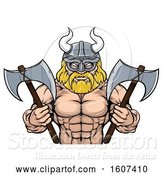 Vector Illustration of Cartoon Muscular Shirtless Blond Male Viking Warrior Holding Axes, from the Waist up by AtStockIllustration