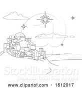 Vector Illustration of Cartoon Nativity Christmas City Scene Coloring by AtStockIllustration