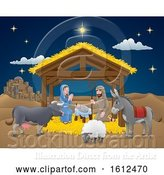 Vector Illustration of Cartoon Nativity Christmas Scene by AtStockIllustration