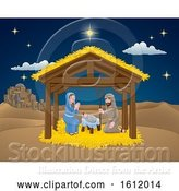 Vector Illustration of Cartoon Nativity Christmas Scene Cartoon by AtStockIllustration