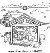 Vector Illustration of Cartoon Nativity Scene Christmas Cartoon by AtStockIllustration