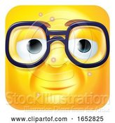 Vector Illustration of Cartoon Nerdy Geek Emoji Emoticon Icon Character by AtStockIllustration