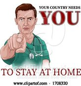 Vector Illustration of Cartoon Nurse Doctor Pointing Your Country Needs You by AtStockIllustration