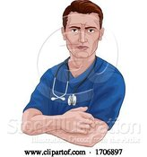 Vector Illustration of Cartoon Nurse or Doctor in Scrubs with Stethoscope by AtStockIllustration