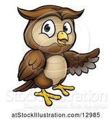 Vector Illustration of Cartoon Owl Mascot Presenting by AtStockIllustration