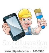 Vector Illustration of Cartoon Painter Decorator Handyman Phone Concept by AtStockIllustration