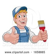 Vector Illustration of Cartoon Painter Decorator Paintbrush Handyman Guy by AtStockIllustration
