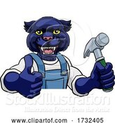 Vector Illustration of Cartoon Panther Carpenter Handyman Builder Holding Hammer by AtStockIllustration
