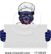 Vector Illustration of Cartoon Panther Chef Restaurant Mascot Sign by AtStockIllustration