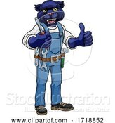 Vector Illustration of Cartoon Panther Electrician Handyman Holding Screwdriver by AtStockIllustration