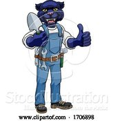 Vector Illustration of Cartoon Panther Gardener Gardening Animal Mascot by AtStockIllustration
