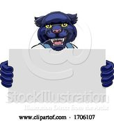 Vector Illustration of Cartoon Panther Mascot Handyman Holding Sign by AtStockIllustration
