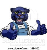 Vector Illustration of Cartoon Panther Mascot Plumber Mechanic Handyman Worker by AtStockIllustration