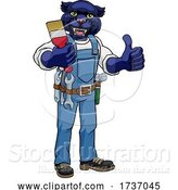 Vector Illustration of Cartoon Panther Painter Decorator Holding Paintbrush by AtStockIllustration