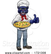 Vector Illustration of Cartoon Panther Pizza Chef Restaurant Mascot by AtStockIllustration