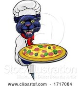 Vector Illustration of Cartoon Panther Pizza Chef Restaurant Mascot Sign by AtStockIllustration