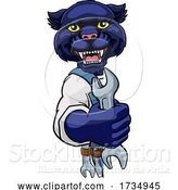 Vector Illustration of Cartoon Panther Plumber or Mechanic Holding Spanner by AtStockIllustration