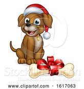 Vector Illustration of Cartoon Pet Dog in Christmas Santa Claus Hat and Gift Bone by AtStockIllustration