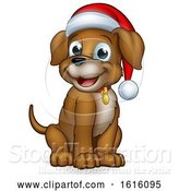 Vector Illustration of Cartoon Pet Dog in Christmas Santa Claus Hat by AtStockIllustration