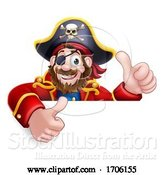 Vector Illustration of Cartoon Pirate Captain Peeking Background Sign by AtStockIllustration