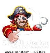 Vector Illustration of Cartoon Pirate Captain Thumbs up Sign Background by AtStockIllustration