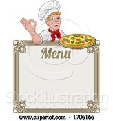 Vector Illustration of Cartoon Pizza Chef Cook Guy Menu Sign Background by AtStockIllustration