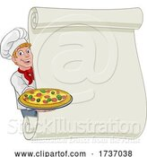 Vector Illustration of Cartoon Pizza Chef Guy Scroll Menu Sign Background by AtStockIllustration