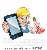 Vector Illustration of Cartoon Plumber Handyman Phone Concept by AtStockIllustration