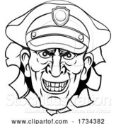 Vector Illustration of Cartoon Policeman Mean Police Officer Ponting Cartoon by AtStockIllustration