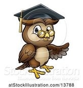 Vector Illustration of Cartoon Presenting Wise Professor Owl with Glasses and Graduation Cap by AtStockIllustration