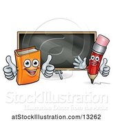 Vector Illustration of Cartoon Red Pencil and Orange Book in Front of a Blackboard by AtStockIllustration