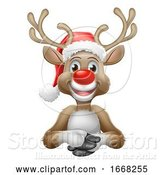 Vector Illustration of Cartoon Reindeer in Christmas Santa Hat Cartoon by AtStockIllustration