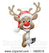 Vector Illustration of Cartoon Reindeer in Santa Hat Christmas Cartoon by AtStockIllustration