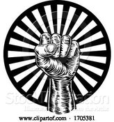 Vector Illustration of Cartoon Revolution Hand Fist Raised Air Propaganda by AtStockIllustration