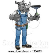 Vector Illustration of Cartoon Rhino Car or Window Cleaner Holding Squeegee by AtStockIllustration
