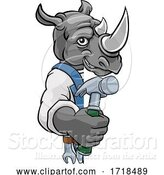 Vector Illustration of Cartoon Rhino Carpenter Handyman Builder Holding Hammer by AtStockIllustration