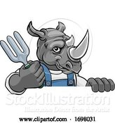 Vector Illustration of Cartoon Rhino Gardener Gardening Animal Mascot by AtStockIllustration