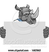 Vector Illustration of Cartoon Rhino Mascot Handyman Holding Sign by AtStockIllustration