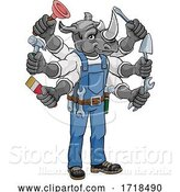 Vector Illustration of Cartoon Rhino Multitasking Handyman Holding Tools by AtStockIllustration