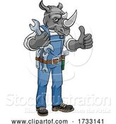 Vector Illustration of Cartoon Rhino Plumber or Mechanic Holding Spanner by AtStockIllustration
