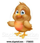 Vector Illustration of Cartoon Robin Christmas Baby Bird Pointing by AtStockIllustration
