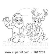 Vector Illustration of Cartoon Santa and His Reindeer Opening Christmas Gift by AtStockIllustration