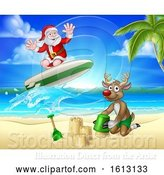 Vector Illustration of Cartoon Santa Claus and Reindeer Christmas Beach Scene by AtStockIllustration
