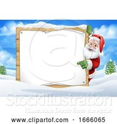 Vector Illustration of Cartoon Santa Claus Sign Christmas Snow Scene Cartoon by AtStockIllustration