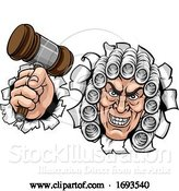 Vector Illustration of Cartoon Scary Judge Character by AtStockIllustration