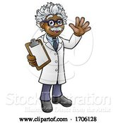 Vector Illustration of Cartoon Scientist Professor with Clipboard by AtStockIllustration