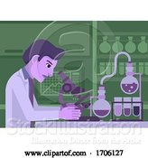 Vector Illustration of Cartoon Scientist Working in Laboratory by AtStockIllustration