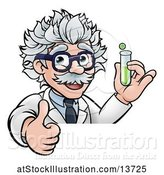 Vector Illustration of Cartoon Senior Male Scientist Giving a Thumb up and Holding a Test Tube over a Sign by AtStockIllustration
